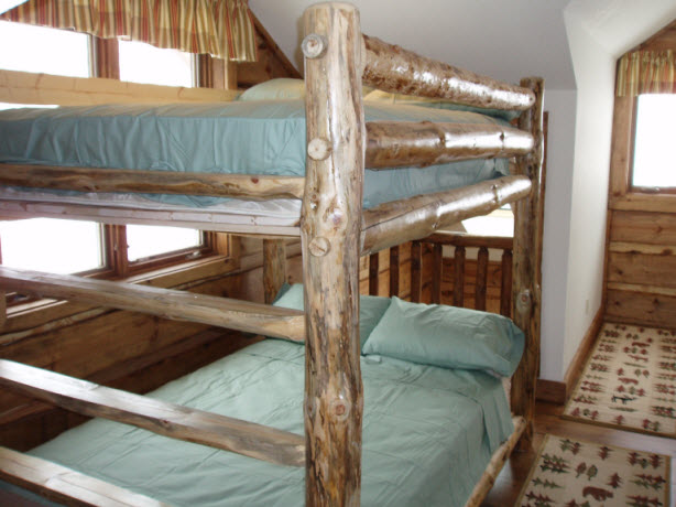 Second bedroom has 2 double bunk beds.